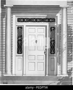 Black and white print depicting a pair of colonial-style wooden columns flanking a front door with decorative sidelight sashes and a transom sash, with glazed, leaded windows, intended to advertise the woodworking design 'Entrance M-51, ' published by the Morgan Woodworking Organization, 1921. Courtesy Internet Archive. () - Stock Photo