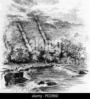 Black and white vintage print depicting a pair of men navigating their longboat or canoe through the Great Falls Rapids, located on the New River in Virginia, USA, published in William Cullen Bryant's edited volume 'Picturesque America; or, The Land We Live In', 1872. Courtesy Internet Archive. () - Stock Photo