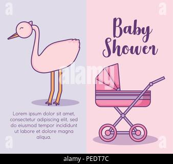 Infographic of baby shower design with cute stork and baby cart over colorful background, vector illustration - Stock Photo