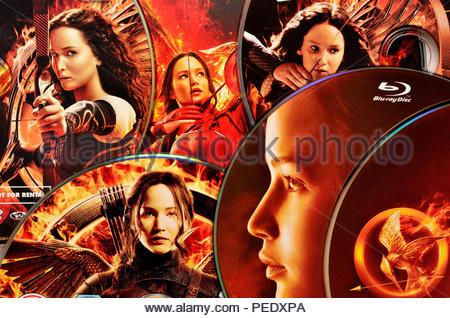 Hunger Games films on DVD - Stock Photo
