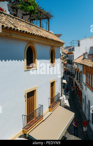 Cordoba, Spain - Jul 13, 2018: High perspective of narrow streets of the Jewish Quarter as part of Cordoba's historic center, which was declared a Wor - Stock Photo