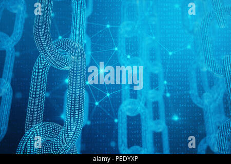 3D illustration digital block chain code. Low polygonal grid of triangles glowing in blue dot network, abstract background. Concept of Network. Intern - Stock Photo