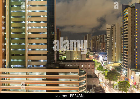 FORTALEZA, BRAZIL - MARCH 1, 2018: Abolicao street at night, Ceara State, city of northeast of Brazil . - Stock Photo