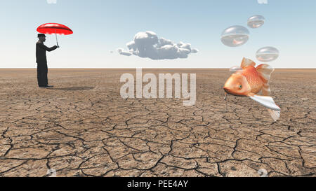 Man and floating fish in desert - Stock Photo