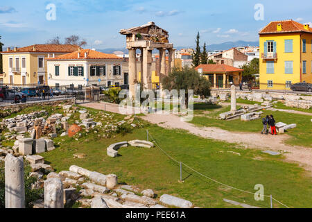 Remains of the Roman Agora in Athens, Greece - Stock Photo