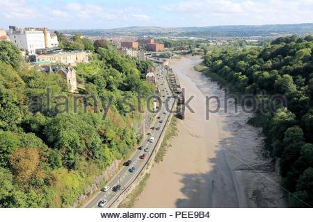 Looking down the River Avon towards Bristol City, from Clifton Suspension Bridge, Clifton, Bristol, UK - Stock Photo