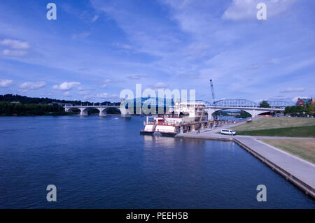 The Motor Vessel Mississippi is docked at Ross's Landing in Chattanooga, Tenn., Aug. 7, 2015. The M/V Mississippi spends more than 90 percent of its time as a working towboat, moving barges, equipment and supplies on the lower Mississippi River. The M/V Mississippi, built in 1993 by Halter Marine, is the fifth Army Corps of Engineers towboat to bear the name. It is the largest diesel towboat in the United States at 241-feet long, 58-feet wide and five stories high. Three 2,100-horsepower diesel engines power the vessel. (USACE photo by Leon Roberts) - Stock Photo