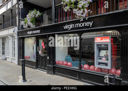 Chester, UK: Aug 6, 2018: The Virgin Money store in Chester city centre. Virgin Money provide a range of financial services including banking, credit  - Stock Photo