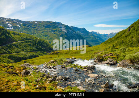 Landscape of the Geiranger valley near Dalsnibba mountain, Norway - Stock Photo