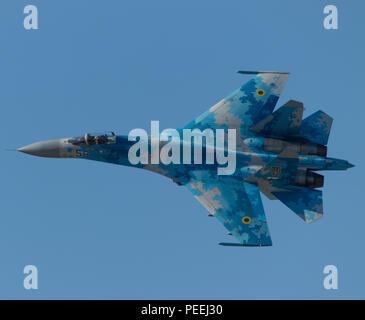 Ukranian Su-27 Flanker During its Airshow Display at Royal International Air Tattoo 2018 - Stock Photo