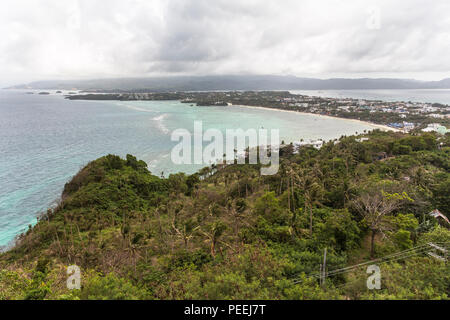 View over the island of boracay on the philippines - Stock Photo