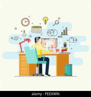 Man working at computer. Male doing job at table with computer. Guy sitting in armchair at desk with lamp and books, magnifying glass and clock. Employee and worker, workplace, office theme - Stock Photo