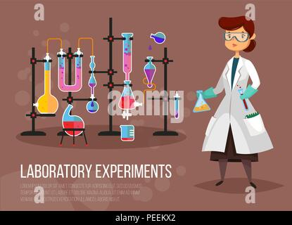 Scientist woman at laboratory or teacher doing chemical experiment. Chemist or pharmacist near glassware flask and tubes. Biology and chemistry, experiment and education, research theme - Stock Photo