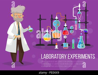 Chemist man near glassware flasks with liquid and tubes or pipes. Laboratory or lab with test-tube. Science and technology, medicine and pharmacy, chemistry and experiment theme - Stock Photo