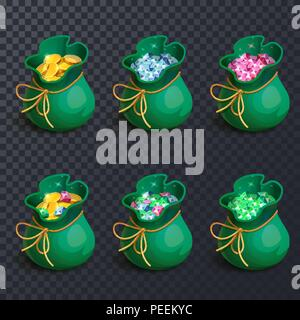 Set of isolated bags or sack with gems or crystal, diamonds and golden coins, gemstones and ruby, sapphire or emerald, brilliant on transparent. Game award and wealth icon, jewelry and money - Stock Photo