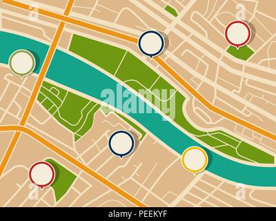 Map with gps pointers and route or itinerary with arrow. Road to direction with marked streets. Pin on navigation map with path. Travel and location information, transport and search theme - Stock Photo