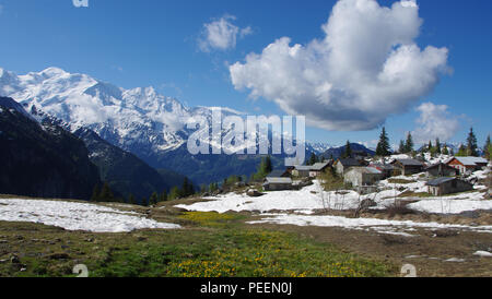 Mont Blanc and aiguille du Midi in the French Alps in summer - Stock Photo