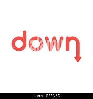 Flat design vector illustration concept of red down word with arrow symbol icon moving down. - Stock Photo