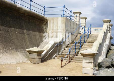 Steps leading down to the beach at Seaton Carew Hartlepool England - Stock Photo