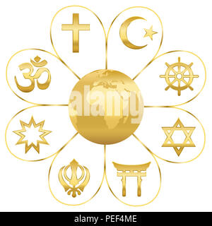 World religions united on a golden flower with planet earth in center. Signs of major religious groups and religions. - Stock Photo