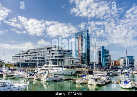 View across the Ocean Village marina to the Southampton Harbour Hotel and Spa, a new five star hotel in Southampton, England, Hampshire, UK - Stock Photo