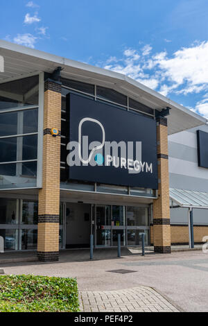 Front facade and entrance of a Puregym no frills gym in the south of England, UK - Stock Photo