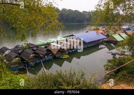 Floating Raft Restaurant in Ubon Ratchathani, Thailand - Stock Photo