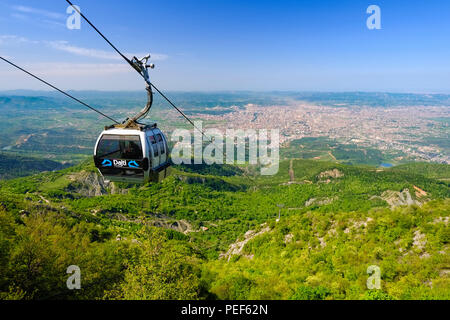 Cable car, view over Tirana from Mount Dajti, National Park Dajti, Qark Tirana, Albania - Stock Photo