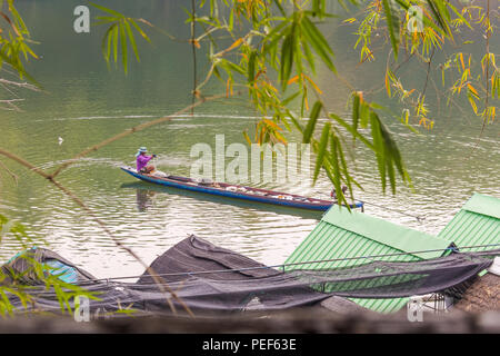 Floating Raft Restaurant in Ubon Ratchathani, Thailand - Stock Photo