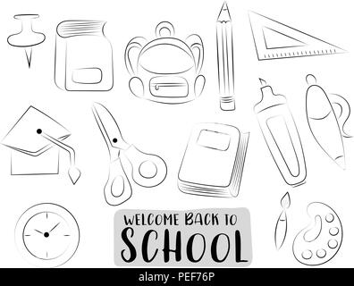 Back to school icons set. Black and white outline hand drawn doodle objects. Coloring page game. Vector illustrator. - Stock Photo
