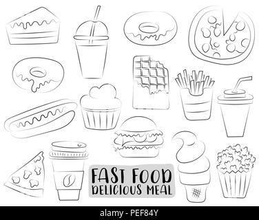 Fast food cartoon icons and objects set.  Black and white coloring page kids game. Hand drawn vector illustration. - Stock Photo
