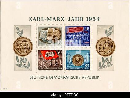 Karl Marx Commemorative Postage Stamp Sheet, East Germany, DDR, 1953 - Stock Photo