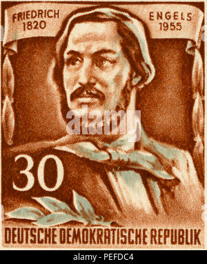 Friedrich Engels Commemorative Postage Stamp, East Germany, DDR, 1955 - Stock Photo