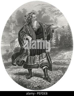 Mr. Edwin Forrest as King Lear, Illustration by Henry J. Johnson, Harper's Monthly Magazine, 1879 - Stock Photo