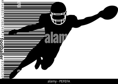 silhouette of a football player and barcode. Rugby. American footballer - Stock Photo