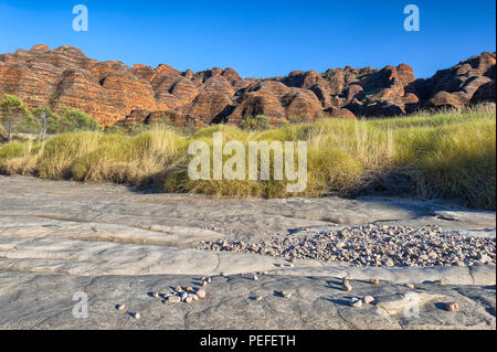 Dry riverbed of Piccaninny Creek in Bungle Bungles National Park, Northern Territories, Australia - Stock Photo