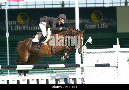 The National, Spruce Meadows, June 2001, Schuyler Riley (USA) riding Rhumbline, Akita Drilling Cup - Stock Photo