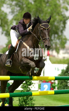 The National, Spruce Meadows, June 2001, Christy Scrymgeour riding Waldo , Akita Drilling Cup - Stock Photo