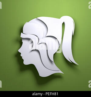 Folded Paper art origami. A silhouette of a persons head. Conceptual mindfulness 3D illustration. - Stock Photo
