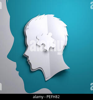 Folded Paper art origami. A silhouette of a persons head with a puzzle piece. Conceptual mindfulness 3D illustration. - Stock Photo