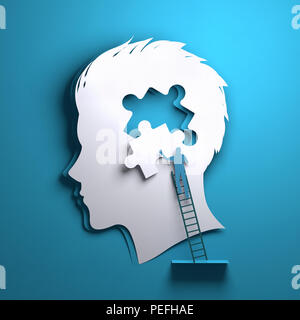 Folded Paper art origami. A silhouette of a mans head with a person adding a puzzle piece. Conceptual mindfulness 3D illustration. - Stock Photo