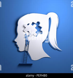 Folded Paper art origami. A silhouette of a womens head with a person adding a puzzle piece. Conceptual mindfulness 3D illustration. - Stock Photo
