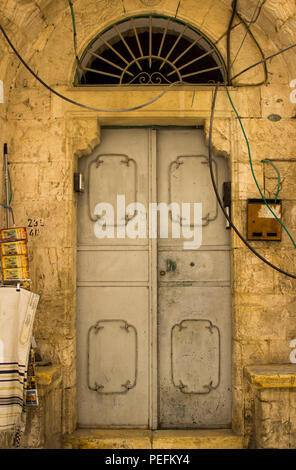 10 May 2018 An old steel door to an ancient building close to the Via Dolorosa in the walled city of Jerusalem Israel - Stock Photo