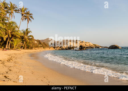 A typical view in Tayrona National Park Colombia - Stock Photo