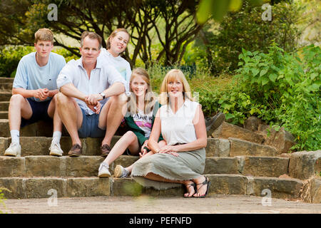 Family photograph in Kirstenbosch Gardens - Stock Photo