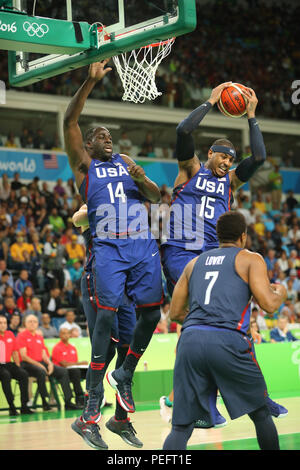 Olympic champion Carmelo Anthony of Team USA in action at group A basketball match between Team USA and Australia - Stock Photo