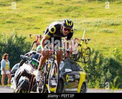Lone rider at the tour de france 2018. Col de la Colombiere. - Stock Photo
