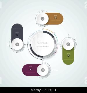 Vector abstract molecules with 3D paper label, integrated circles. Blank space for content, business, infographic template, diagram, network, web desi - Stock Photo