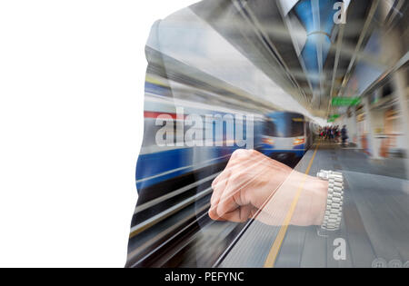 Double exposure businessman looking his watch to check time and motion blur train station. Look like his is in a hurry in rush hour and traffic is so  - Stock Photo