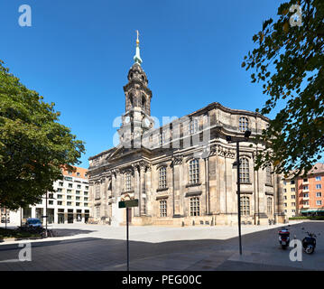 Dresden Hofkirche, or Cathedral of Holy Trinity, panoramic image taken in Dresden, Saxony, Germany - Stock Photo